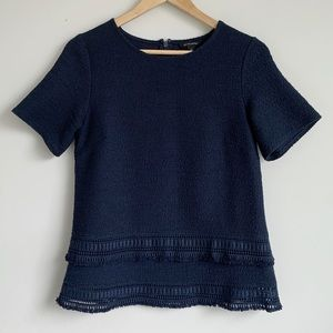 Navy T-Shirt Blouse with Double Trim Edge